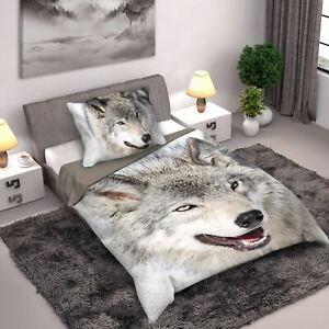Loup-Housse-Couette-Simple-Set-Coton-Animal-Photo-Imprime-Literie-Wild-Collecte
