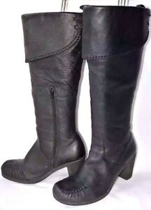 ladies clarks black leather knee high boots heeled uk 6d
