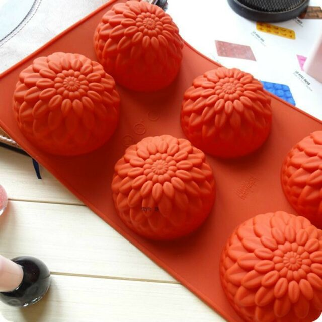Cake Mold, Soap Mold  6-Chrysanthemum Mold Silicone Mould For Candy Chocolate