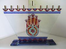 BEAUTIFUL HANUKKAH GLASS MENORAH - ISRAEL