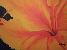 Pintura al Óleo Lienzo Grande Arte Moderno Original Flor Naranja Contemporáneo