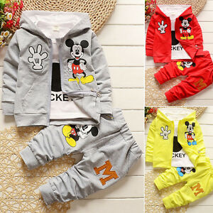 130a26c30 3PCS Toddler Kids Girl Boy Mickey Minnie Mouse Hoodie Coat Tracksuit ...