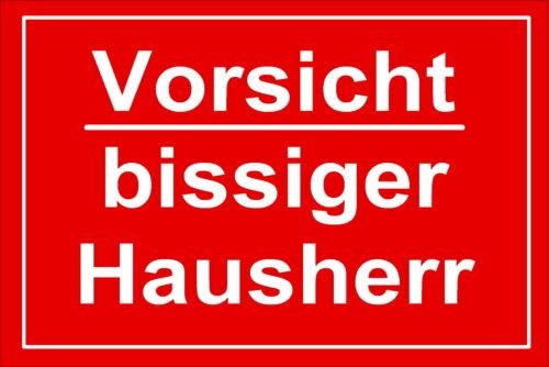 Vorsicht bissige Hausherr-Schild-Alu.-Verbund-200x150 mm-Hinweisschild-Gagschild