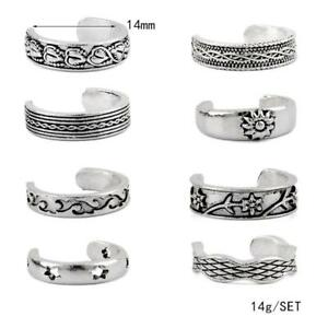 8PCS-Celebrity-Jewelry-Retro-Silver-Adjustable-Open-Toe-Ring-Finger-Foot