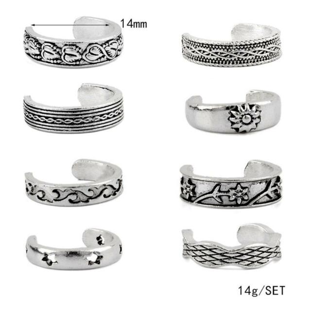 8PCS Celebrity Jewelry Retro Silver Adjustable Open Toe Ring Finger Foot