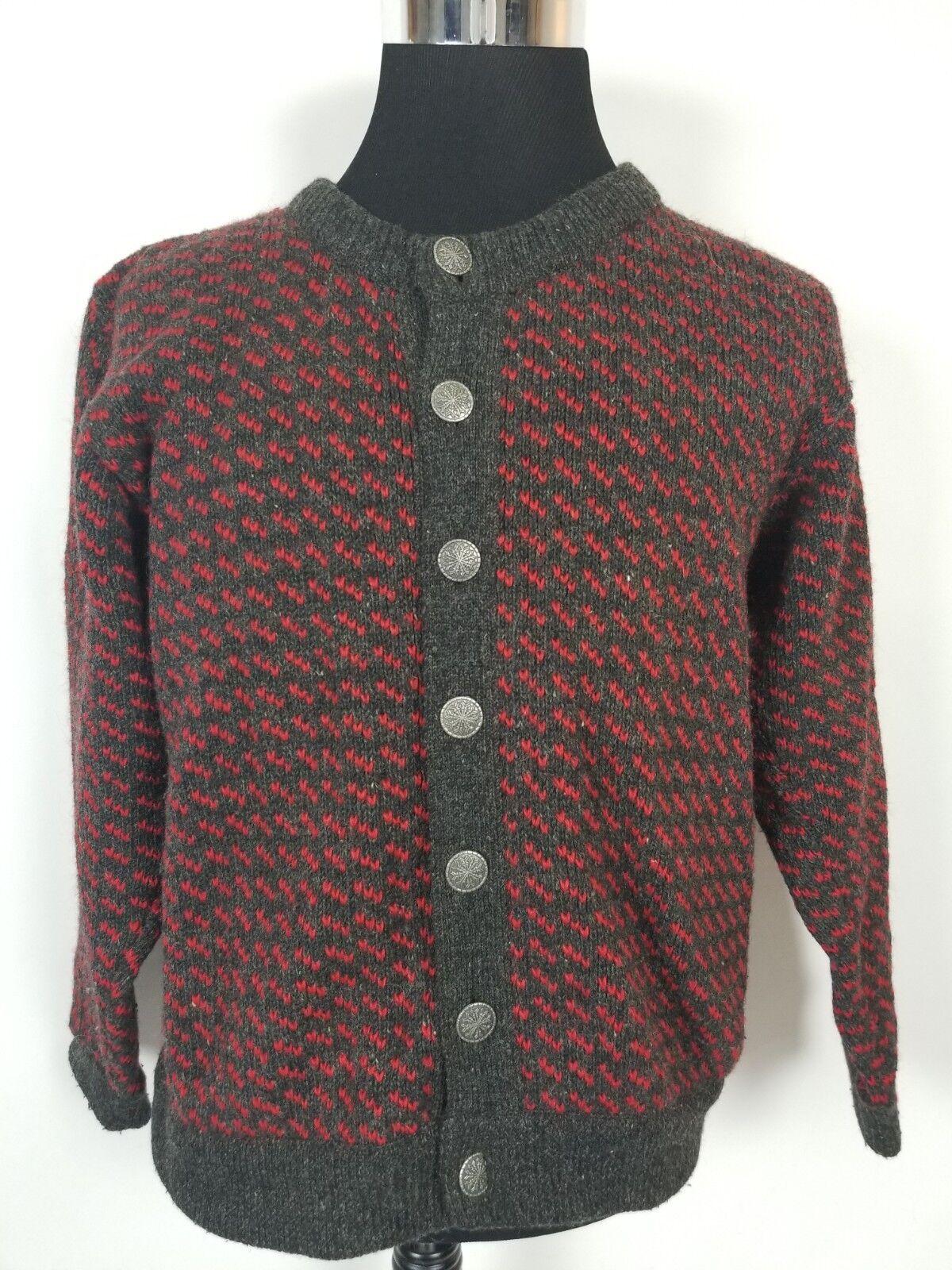 Vintage L.L. Bean Wool Blend Cardigan Snowflake Button Sweater Norway Sz Med