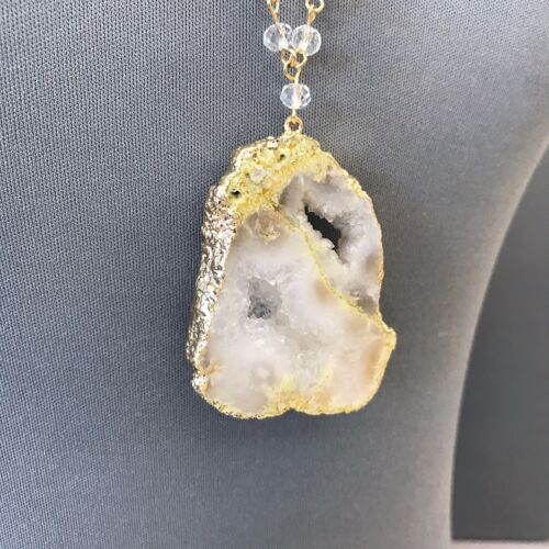 Gold Finished Chain With Clear Beads White Color Natural Stone Pendant Necklace