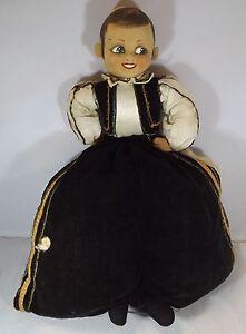 Vintage 1930s/1940s Alpha Farnell Cloth Doll Nighdress Pyjama Case Spanish Boy
