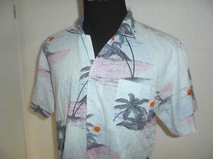 vintage-80s-Hawaii-Hemd-hawaiihemd-Baumwolle-shirt-80er-gemustert-surf-M-L