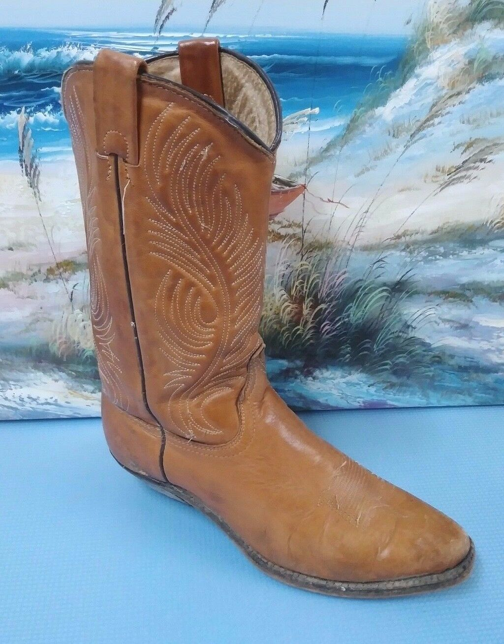 Vintage Women's Leather Western Style Boots Brown Sz 7.5