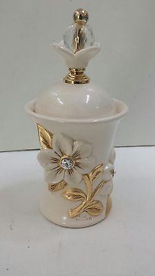 Barattolo Medio Via Veneto Ceramica Avorio Foglia Oro Con Cristalli Arredo Casa