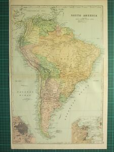 1893 ANTIQUE MAP ~ SOUTH AMERICA BRAZIL PERU ARGENTINA BUENOS AYRES RIO ENVIRONS