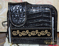 Madi Claire/m.cchantallcroco Embossed Embroidered Foldover Wallet W/coin Black