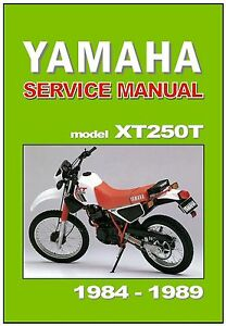 yamaha workshop manual xt250t xt250 1984 1985 1986 1987. Black Bedroom Furniture Sets. Home Design Ideas