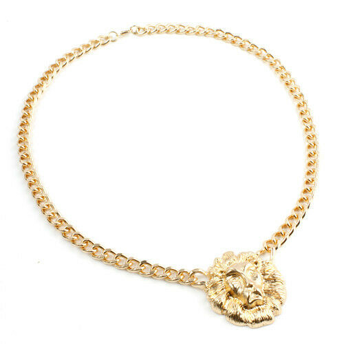 Heavy Metal Chunky Unique Gold Plated Link Animal Lion Head Choker Necklace