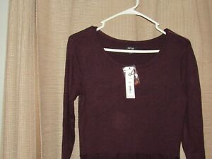 Details about NWT new APARTMENT APT 9 womens plum satin sweater dress sz  small scoop long slv