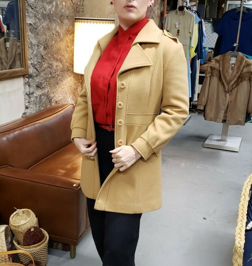 Vintage 70s country Pacer wool camel western prin… - image 2