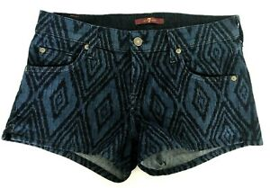 For-all-Mankind-7-SHORTS-Size-26-blue-black-Cotton-Spandex