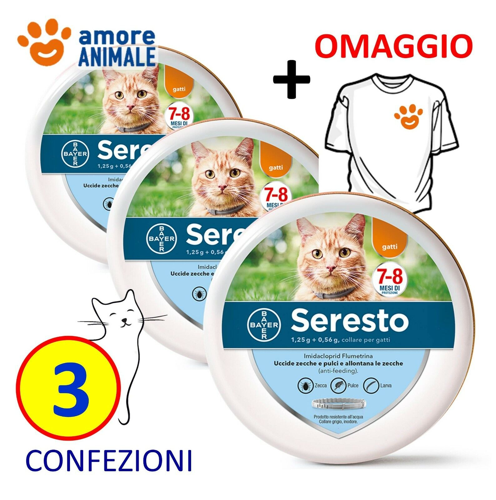 3 COLLARI (+M) - Seresto Bayer - Collare Antiparassitario per gatto gatti
