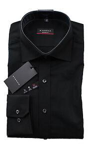 ETERNA-Hemd-Schwarz-Modern-Fit-ohne-Brusttasche-Buegelfrei-100-Baumwolle-1-1-NEU