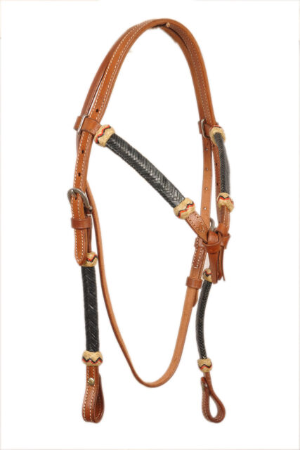 Western Natural Leather  Rawhide Braided Set of Headstall//Breast Collar /& Reins