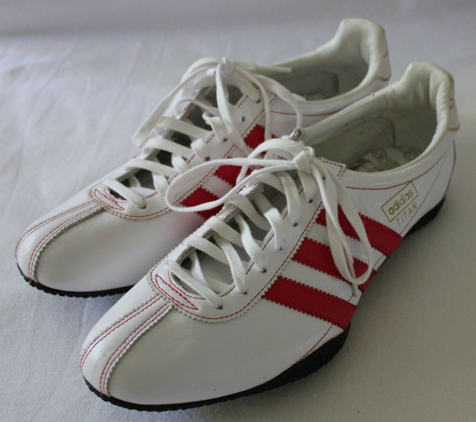 ADIDAS ~ Titan White Leather Sneakers Trainers w Red Three Stripes 8 40 NWOT New shoes for men and women, limited time discount