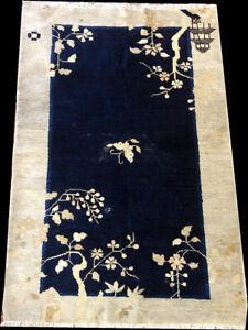 """Une antique 3' x 5' chinois de Pékin Tapis """"ART DECO"""""""