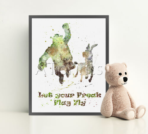 SHREK Print Poster Watercolour Framed Canvas Wall Art Nursery Donkey