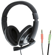 3.5mm Stereo Closed Headset & Microphone Mic -Volume Control- VOIP Skype Gaming