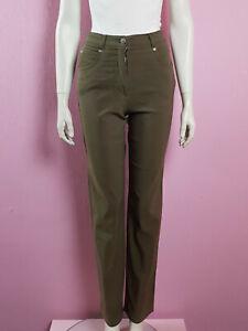 Details zu Olivgrüne High Waist Jeans lange Hose khaki grün oliv hoher Bund S 36