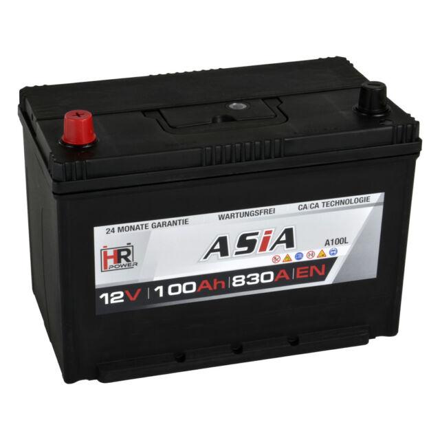 Autobatterie PKW 12V 100Ah 830A/EN ASIA Japan Pluspol Links Starterbatterie 95Ah