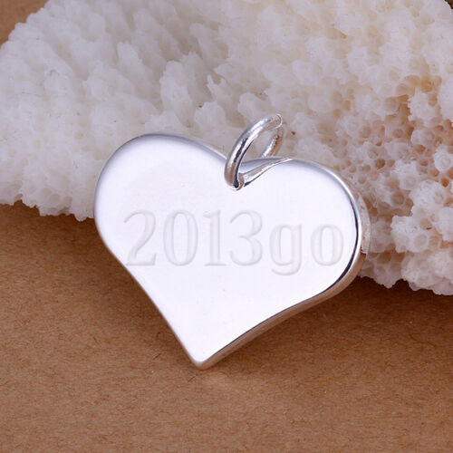 Flat Glossy Heart Dog Tag Silver Plated Necklace Pendant 2.2 2.5CM YG