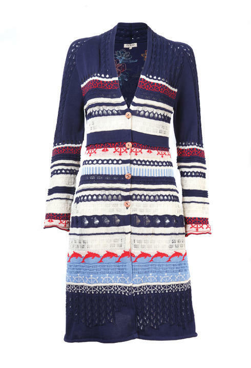NWT IVKO Embroidered LONG Spring Cotton Linen Cardigan Size 36 - S