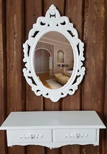 Vanity Wall Mounted Makeup Mirror 2 Drawer Dressing Table Dresser