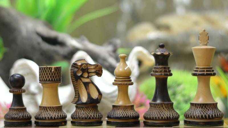 Handcrafted Staunton Chess Set Burnt Box Wood w o Board FREE shipping M0039