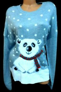Holiday-time-gray-fuzzy-polar-bear-scarf-long-sleeve-ugly-christmas-sweater-XXL