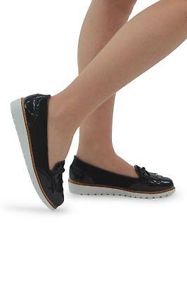 Para Mujeres Niñas Mocasines Plano Negro Borla Damas Informal Trabajo Escuela Zapatos Bombas | eBay