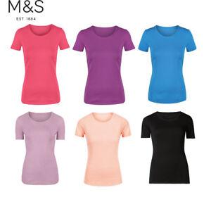 M-amp-S-De-Algodon-de-Cuello-Redondo-Rosa-Blanco-Negro-camiseta-Prenda-para-el-torso-Camiseta-8-10