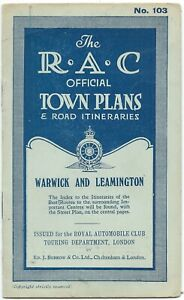 WARWICK-LEAMINGTON-1924-RAC-Official-Town-Plan-amp-Road-Itineraries-no-103-booklet