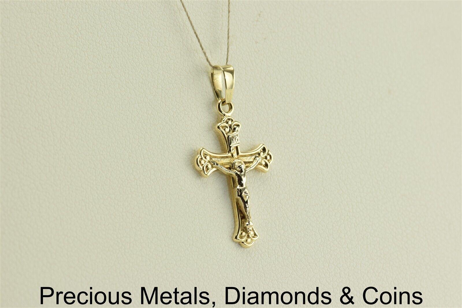 14k Yellow gold 22mm x 13mm Crucifix Cross Pendant