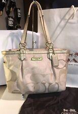 Coach Gallery Optic Gray & Silver Metallic Signature C Tote Shoulder Bag F19664