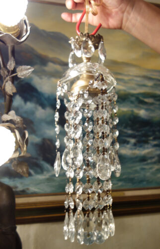 """Vintage Lamp Chandelier Hanging Jelly Fish brass crystal glass prism 30/"""" cord"""