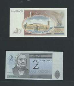 Estonie-Lot-de-2-billets-differents-en-etat-NEUF-Lot-N-1