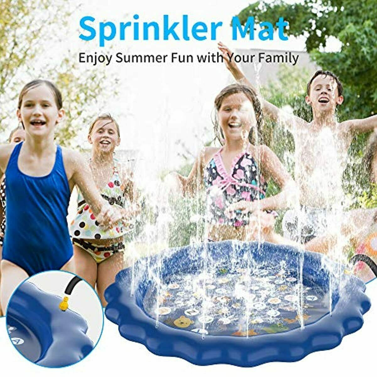 PhyPa Sprinkler Mat for Kids, Water Spray Pad, Outdoor Water Pool for Boys and G