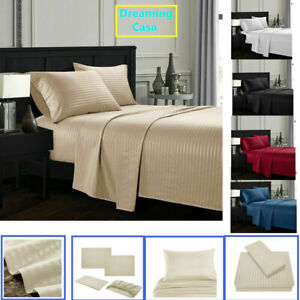 Queen-King-Deep-Pocket-Bed-Sheets-Set-Fitted-Flat-1800-Count-Egyptian-Comfort-G3