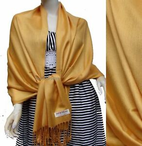 NEW Women Soft Solid Gold PASHMINA//Cashmere Classic SHAWL Scarf Stole WRAP