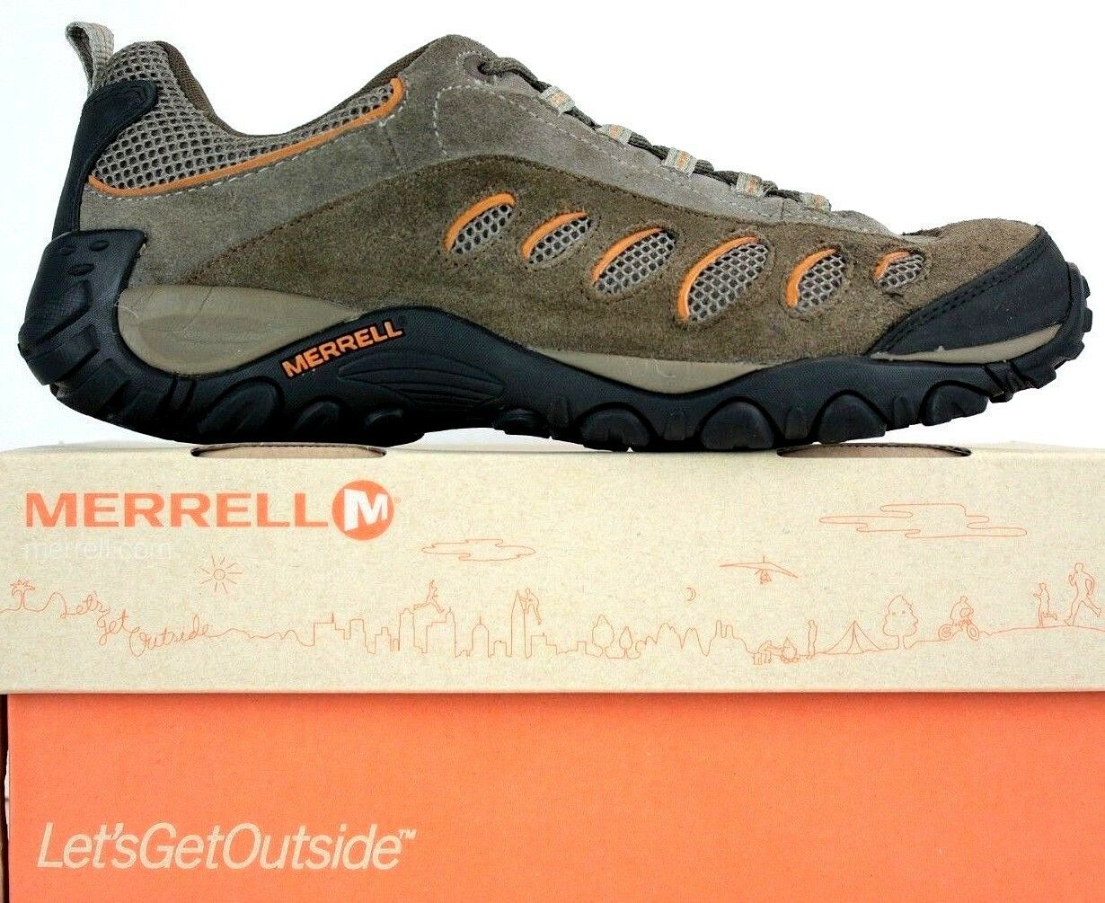 Merrell Mens Hiking shoes size 10 Brown Grey orange Suede TMO FW274