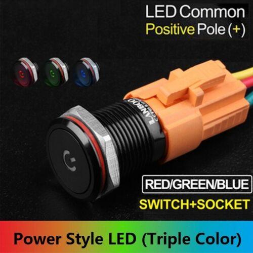 19mm Tri-color12V Power Style LED illuminated Aluminium Alloy Push button Switch