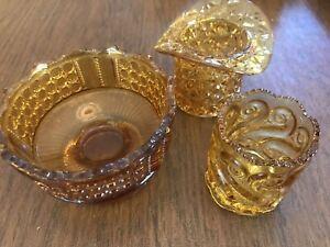 Lot De 3 Antique Duncan Verre Ambre Daisy & Bouton Top Hat-afficher Le Titre D'origine O9aqt212-07213213-954150316