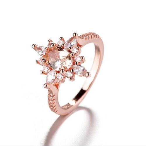 Anillo de diamante de imitación de oro rosa champán creativo para mujeres señoras anillo de compromiso CB